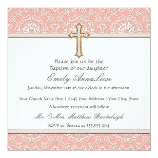 Cordón cruzado de oro del oro infantil del invitaciones personales