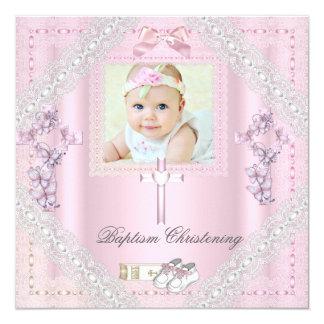 Cordón cruzado rosado 2 del bautizo de la foto del invitación 13,3 cm x 13,3cm