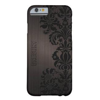 Cordón de aluminio de Brown y floral cepillado Funda De iPhone 6 Barely There