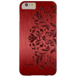 Cordón de aluminio y floral cepillado rojo funda de iPhone 6 plus barely there