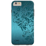 Cordón de aluminio y floral cepillado turquesa funda de iPhone 6 plus tough