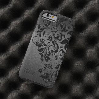 Cordón de aluminio y negro cepillado negro funda de iPhone 6 tough