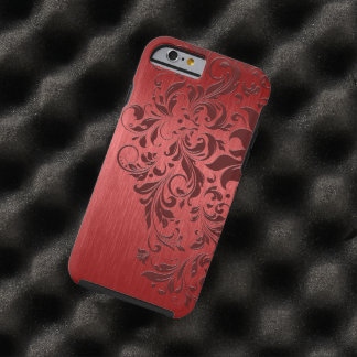 Cordón de aluminio y rojo oscuro cepillado rojo funda para iPhone 6 tough