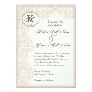 Cordón de color topo del vintage - invitación del invitación 12,7 x 17,8 cm