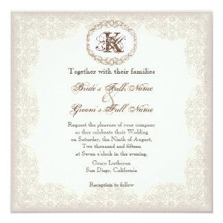 Cordón de color topo del vintage - invitación del invitación 13,3 cm x 13,3cm