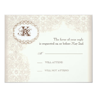 Cordón de color topo del vintage - tarjeta de la invitación 10,8 x 13,9 cm