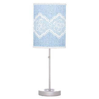 Cordón de forma de V blanco en la arpillera azul r Lámpara De Escritorio