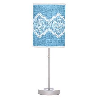 Cordón de forma de V blanco en la arpillera azul r Lámpara De Mesilla De Noche