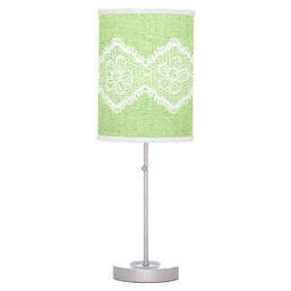 Cordón de forma de V blanco en la arpillera verde  Lámpara De Escritorio