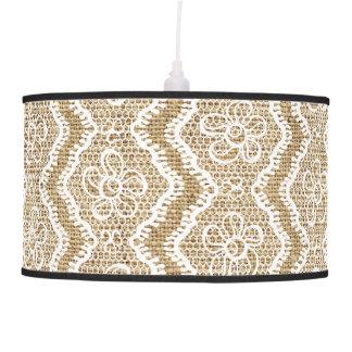 Cordón de forma de V blanco, personalizado de lino Lámpara De Techo