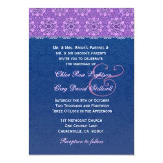 """Cordón de la flor de los azules marinos y de la invitación 5"""" x 7"""""""