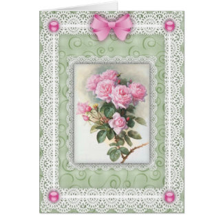 Cordón de la n de los rosas rosados felicitaciones