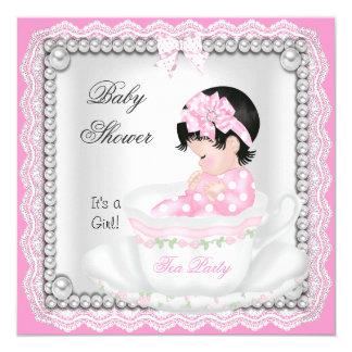 Cordón de la taza de té del bebé del rosa del invitación 13,3 cm x 13,3cm