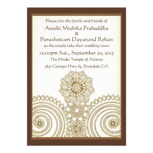 Cordón de Mehndi (invitación del boda 5x7)