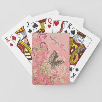 Cordón de moda femenino hermoso del vintage floral cartas de póquer
