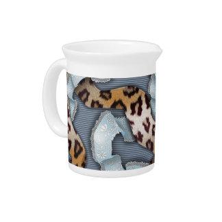 Cordón de n de los leopardos '- azul - jarra de beber