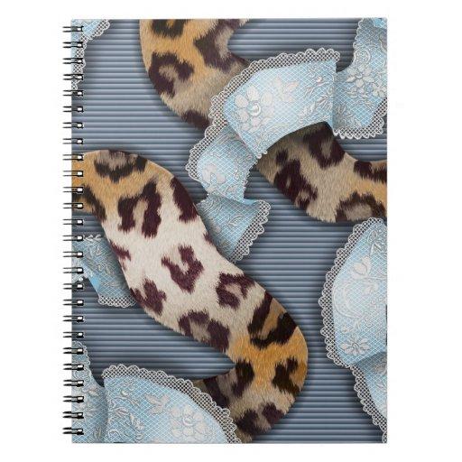 Cordón de n de los leopardos '- azul - libros de apuntes con espiral