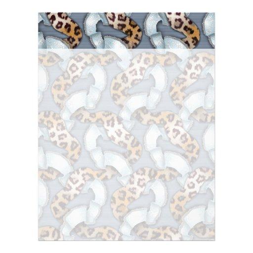Cordón de n de los leopardos '- azul - plantillas de membrete