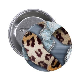 Cordón de n de los leopardos '- azul - pin redondo de 2 pulgadas