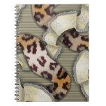 Cordón de n de los leopardos '- marfil libros de apuntes con espiral