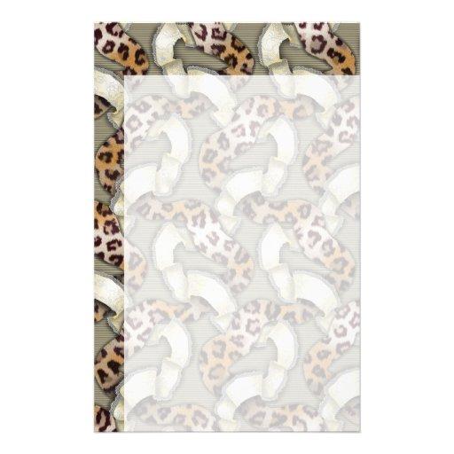 Cordón de n de los leopardos '- marfil papelería personalizada