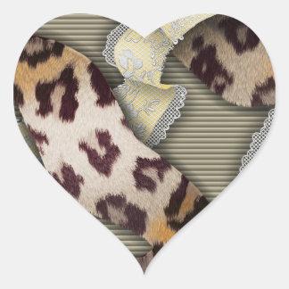 Cordón de n de los leopardos - marfil pegatina de corazon personalizadas