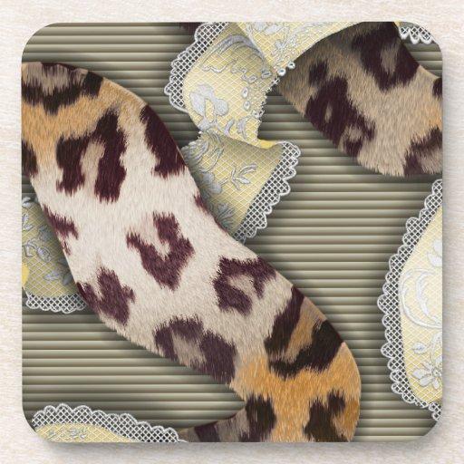 Cordón de n de los leopardos '- marfil posavasos de bebida