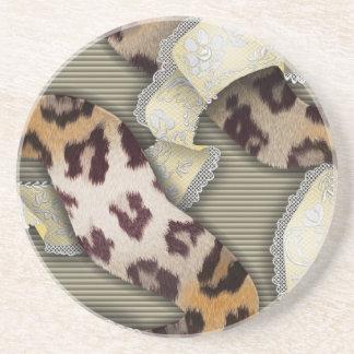 Cordón de n de los leopardos '- marfil posavasos diseño