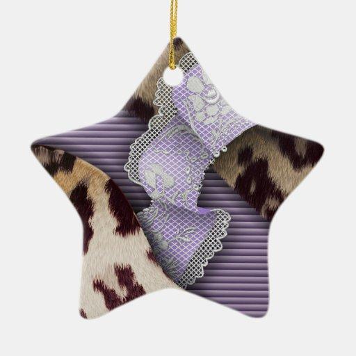 Cordón de n de los leopardos '- púrpura - adorno de cerámica en forma de estrella