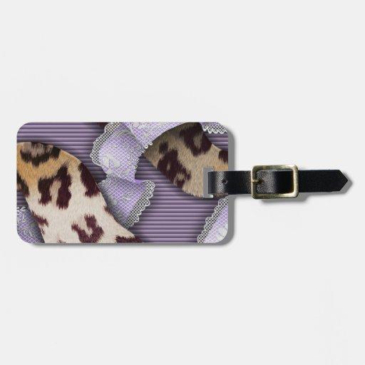 Cordón de n de los leopardos '- púrpura - etiquetas de maletas