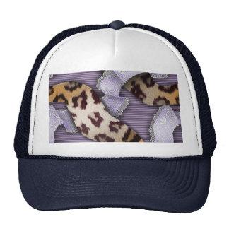 Cordón de n de los leopardos '- púrpura - gorros bordados