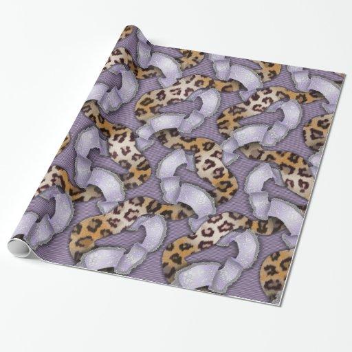 Cordón de n de los leopardos '- púrpura papel de regalo