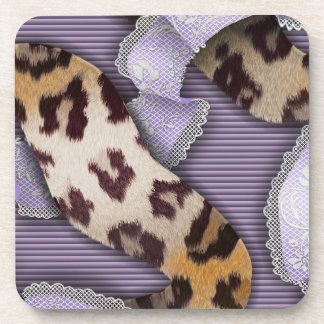 Cordón de n de los leopardos '- púrpura - posavasos de bebida