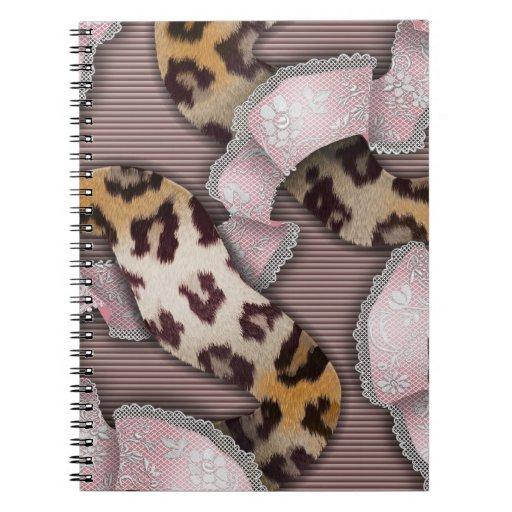 Cordón de n de los leopardos '- rosa en colores pa libretas espirales