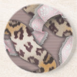 Cordón de n de los leopardos '- rosa en colores pa posavaso para bebida