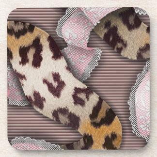 Cordón de n de los leopardos '- rosa en colores posavasos de bebida
