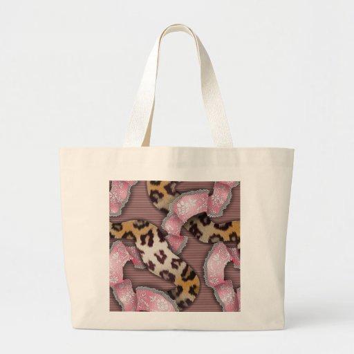Cordón de n de los leopardos '- rosa intenso - bolsa tela grande