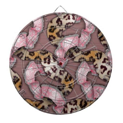 Cordón de n de los leopardos '- rosa intenso - tabla dardos