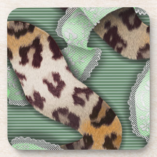 Cordón de n de los leopardos '- verde - posavasos