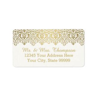Cordón de oro del vintage de la etiqueta del sobre etiqueta de dirección