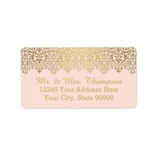 Cordón de oro del vintage de la etiqueta del sobre etiquetas de dirección