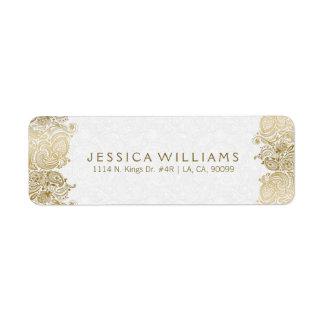 Cordón de Paisley del oro en blanco Etiquetas De Remite