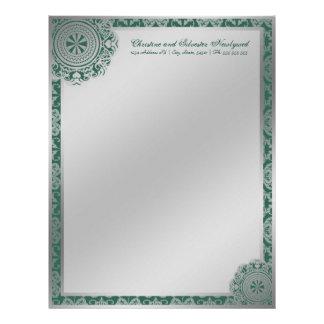 Cordón de plata del Arabesque, papel con membrete Membrete Personalizado