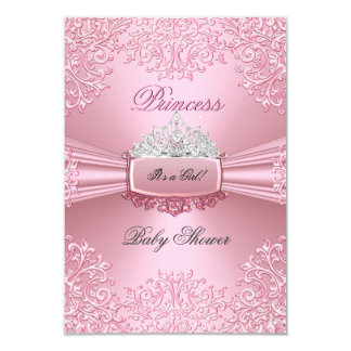 """Cordón de princesa Tiara del rosa del chica de la Invitación 3.5"""" X 5"""""""