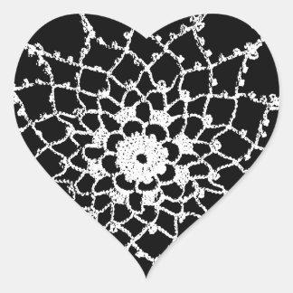 Cordón de Tatted del vintage Pegatina En Forma De Corazón