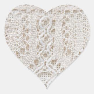 Cordón del blanco del vintage pegatinas corazon personalizadas