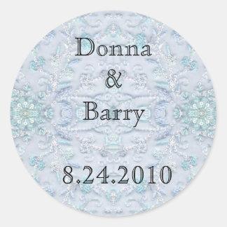 Cordón del boda de la novia azul claro pegatina redonda