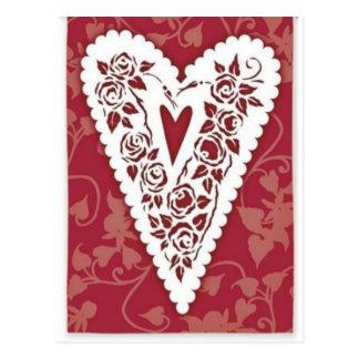 Cordón del corazón del Victorian Tarjeta Postal