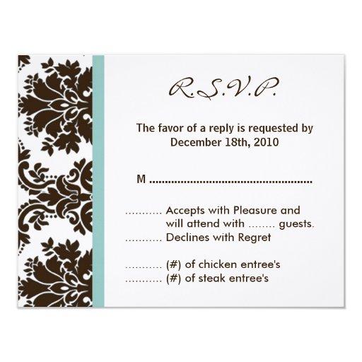 cordón del damasco de Brown de la tarjeta de Comunicados Personalizados