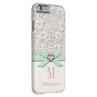 Cordón del diamante artificial de la menta y funda barely there iPhone 6
